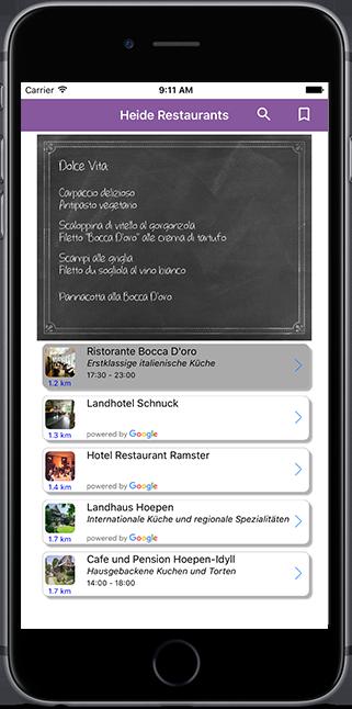 Finde Dein bestes Restaurant unterwegs IOS App
