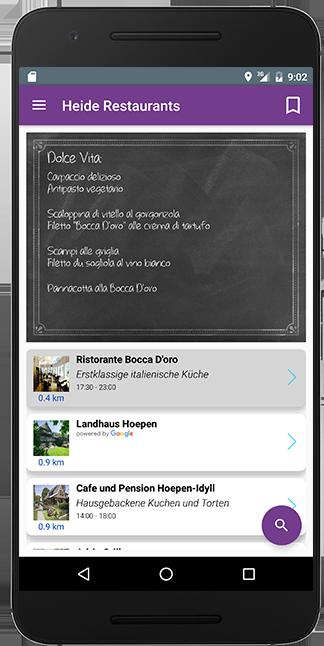 FInde Dein bestes Restaurants unterwegs für Android